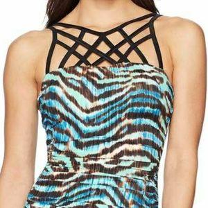Coastal blue one piece swimsuit L
